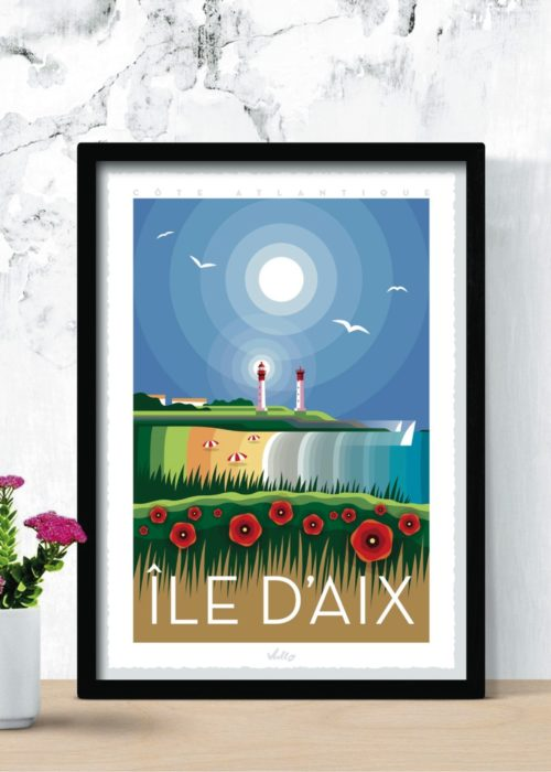 Île d'Aix poster with frame